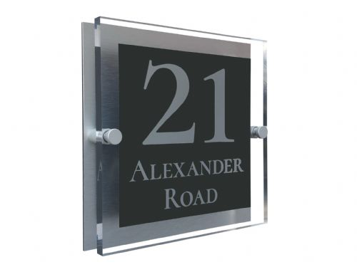 Block Shape - Clear Acrylic House Sign - Anthracite Colour with Silver text in Font  2